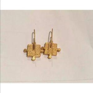 Jewelry - GOLD WITH DARK GREEN ENAMEL CENTER STONE EARRINGS